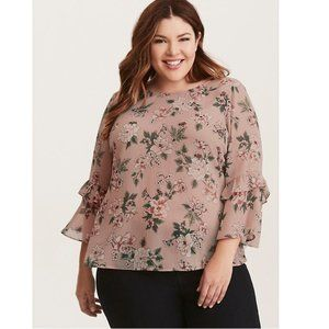 Torrid Floral Chiffon Bell Sleeve Strappy Blouse 2